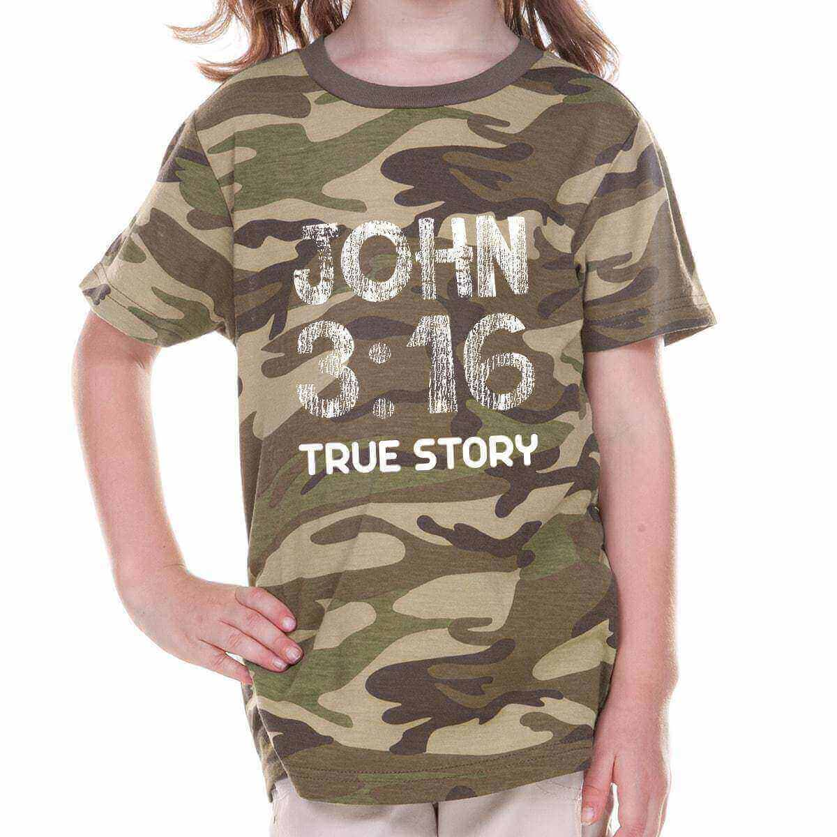 John 3:16 True Story Camouflage Toddler Christian T Shirt